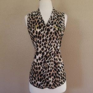 NWT INC Womens Animal Print Sleeveless Shirt